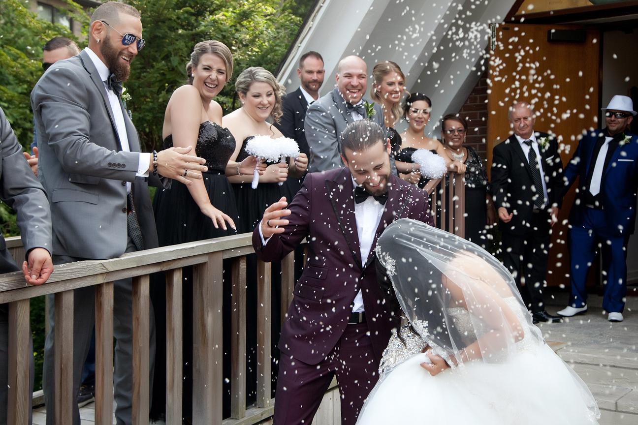 bride and groom exit greek wedding ceremony