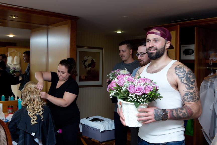bride prep flowers