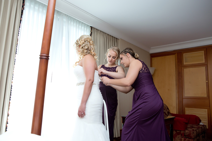 Bride prep getting dressed