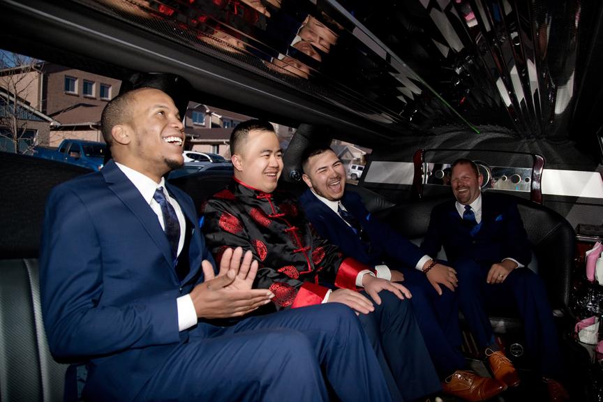Chinese wedding limo ride