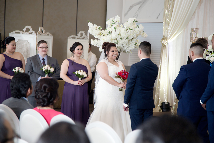 happy bride wedding ceremony at Mississauga Convention Centre