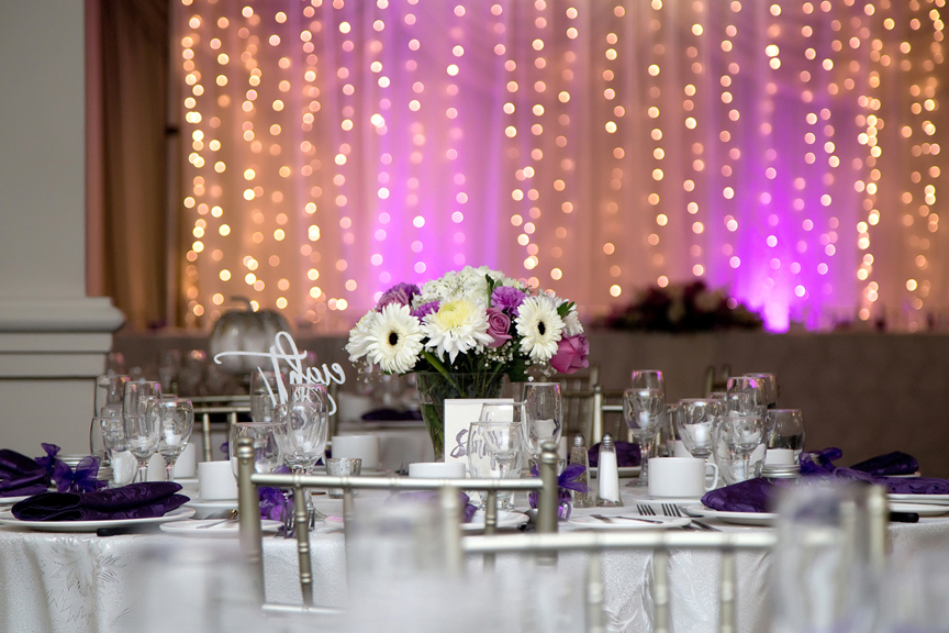 Centre pieces at Le Treport Wedding & Convention Centre
