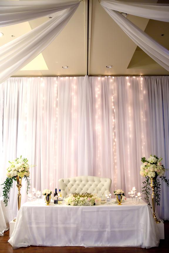 Sweetheart table setup at Paradise Banquet Hall
