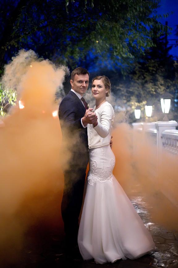Smoke bomb wedding portraits at Paradise Banquet Hall