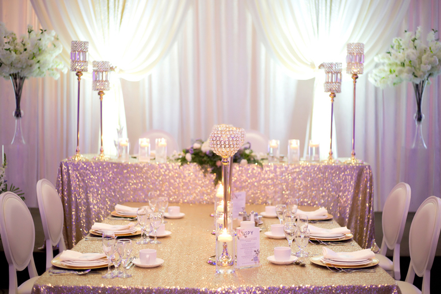 head table decor wedding reception at Mississauga Convention Centre