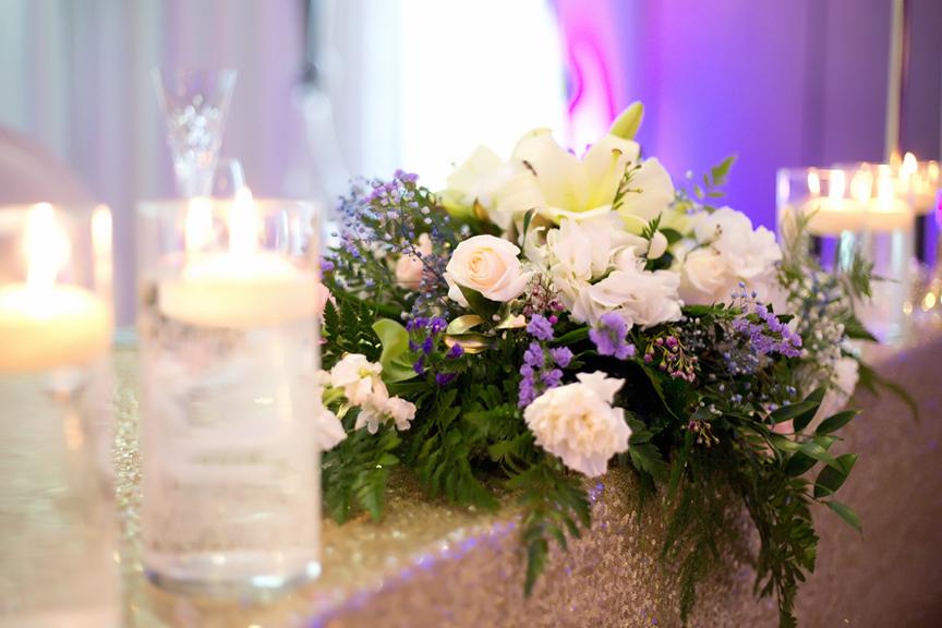 flower decor wedding reception at Mississauga Convention Centre