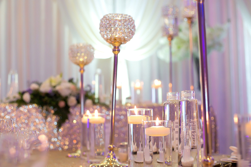 centrepieces wedding reception at Mississauga Convention Centre