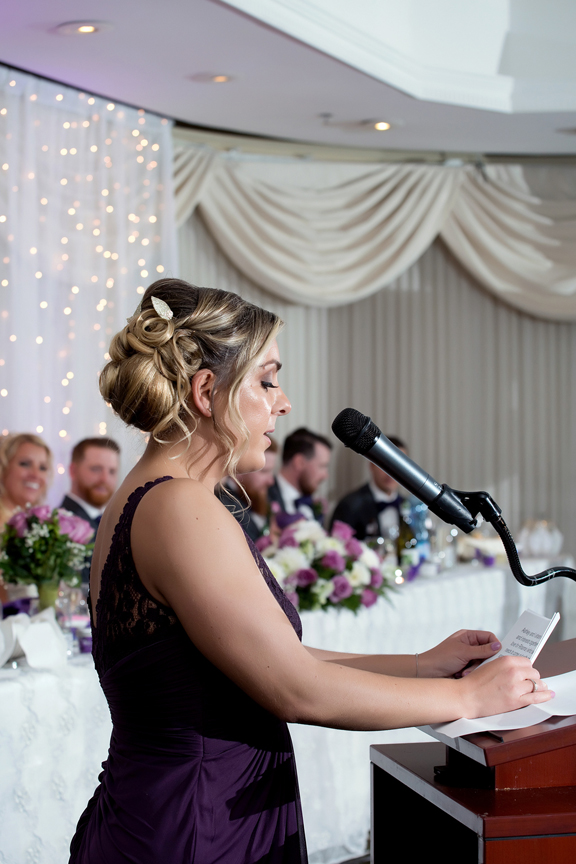 Maid of honour speech at Le Treport Wedding & Convention Centre