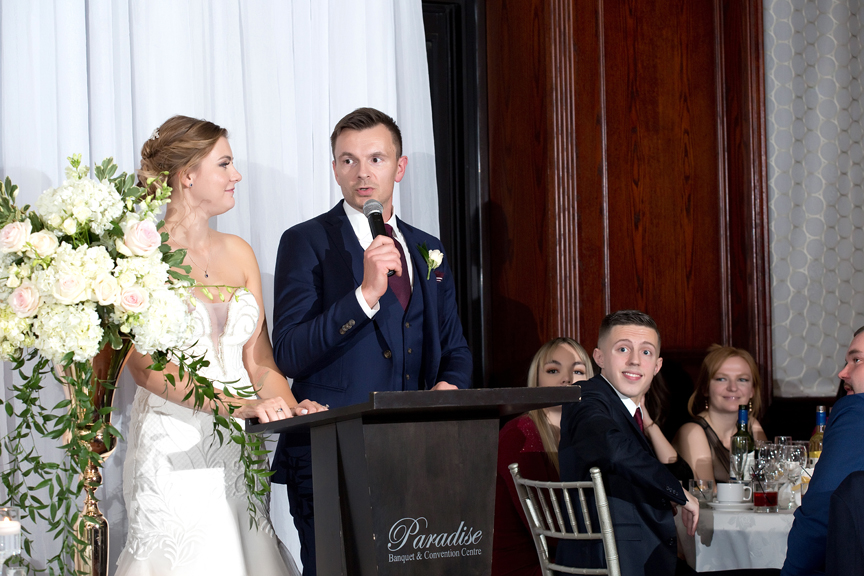 Wedding couple speech at Paradise Banquet Hall