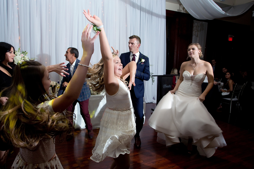 Flower girl dancing at Paradise Banquet Hall