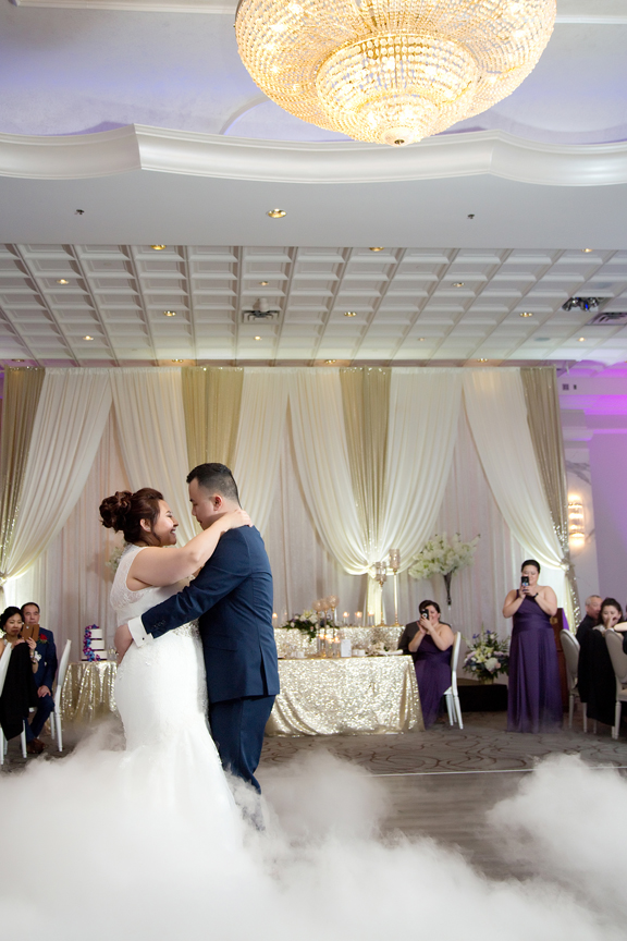 first dance dry ice wedding reception at Mississauga Convention Centre