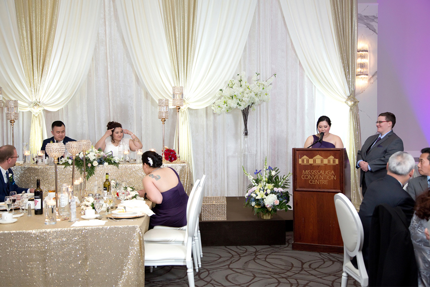 maid of honour speech wedding reception at Mississauga Convention Centre