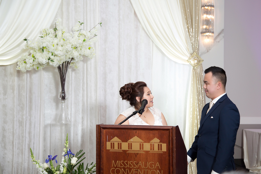 couple speech wedding reception at Mississauga Convention Centre