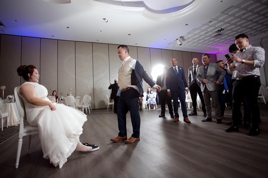 garter toss wedding reception at Mississauga Convention Centre