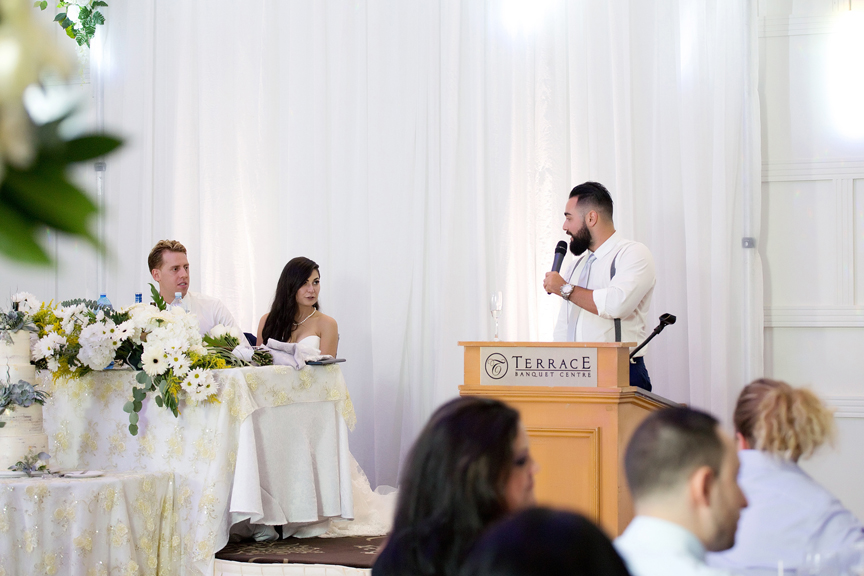 bride's brother speech at Terrace Banquet Hall