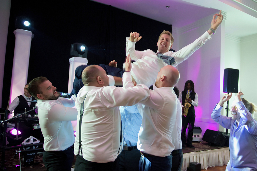 groomsmen dancing at Terrace Banquet Hall