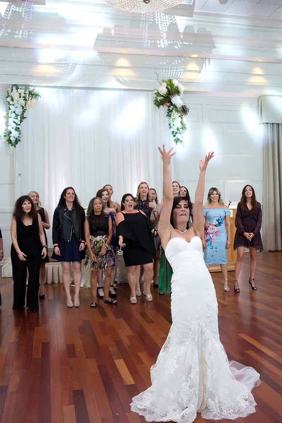bouquet toss at Terrace Banquet Hall