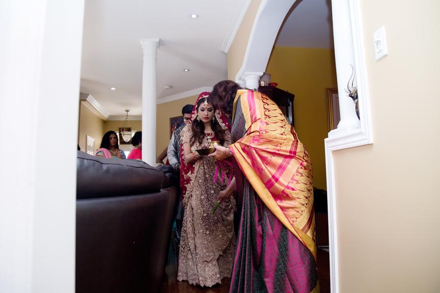 bride arrives Hindu ceremony backyard wedding