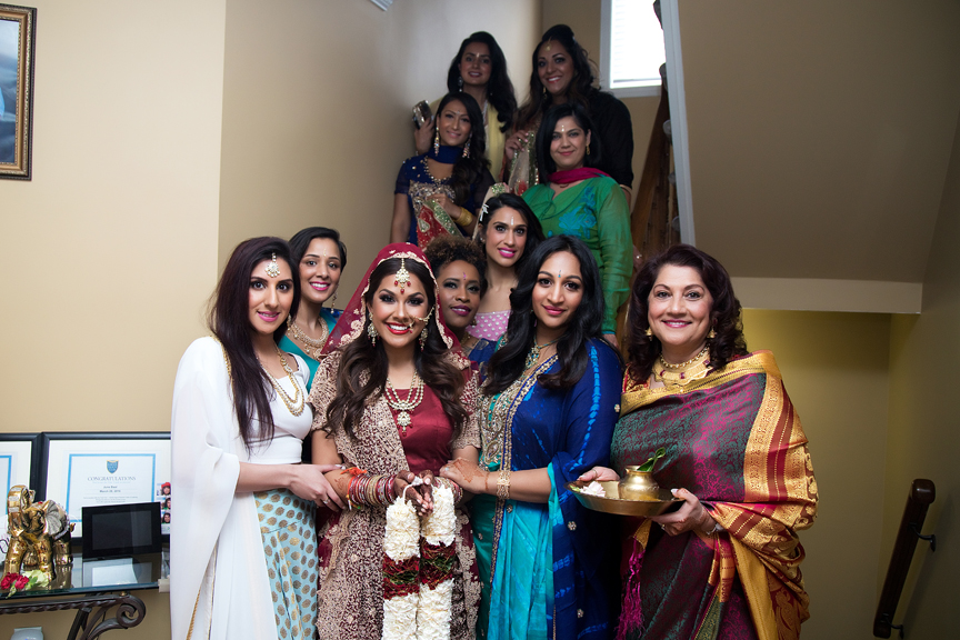bridesmaids Hindu ceremony backyard wedding