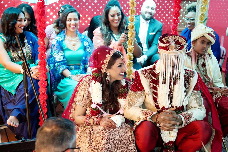 married couple Hindu ceremony backyard wedding