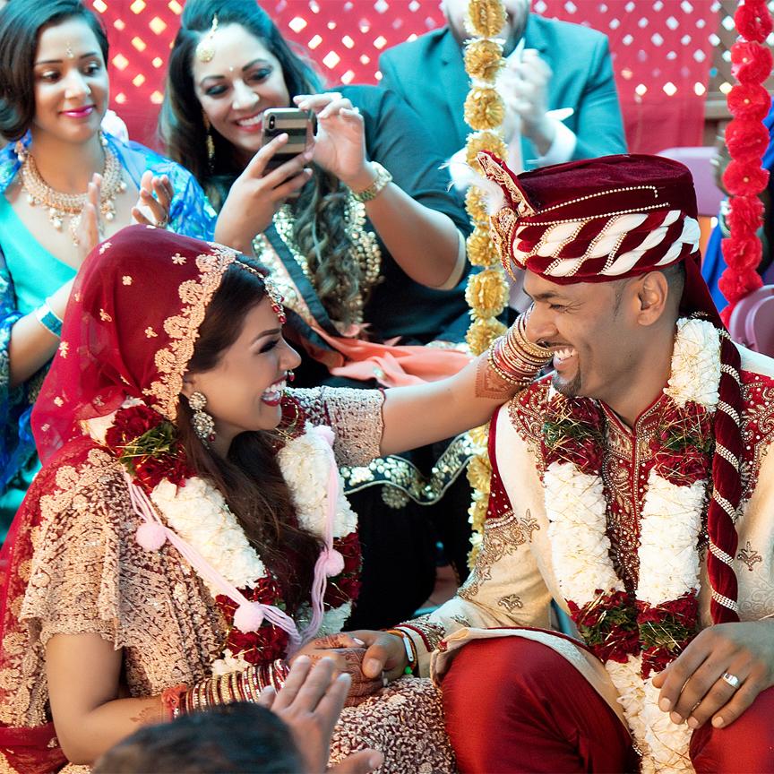 happy couple Hindu ceremony backyard wedding