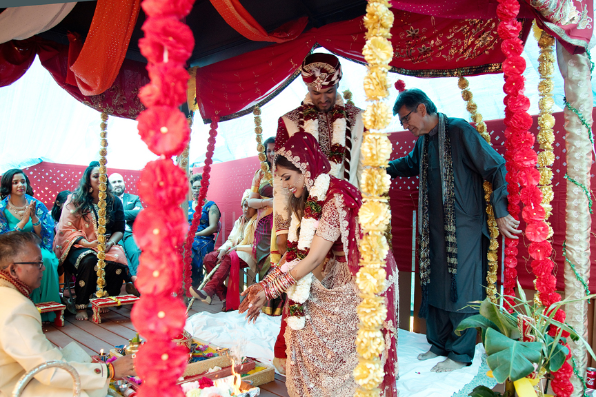 walk around fire Hindu ceremony backyard wedding