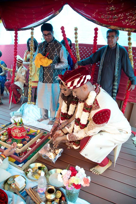 spiritual offering Hindu ceremony backyard wedding