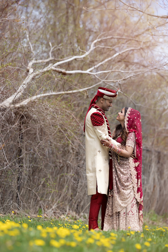 formal indian wedding couple