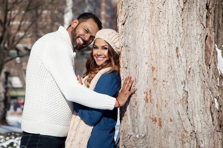 newly engaged couple winter