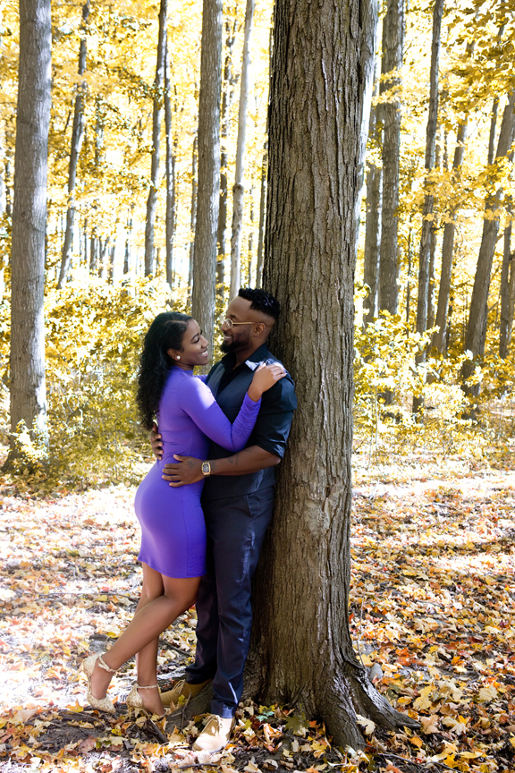 fall leaves engagement shoot in private park