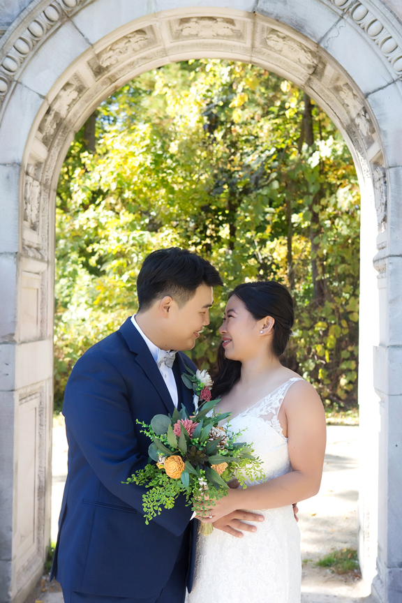 Wedding couple at Guildwood Inn Gardens