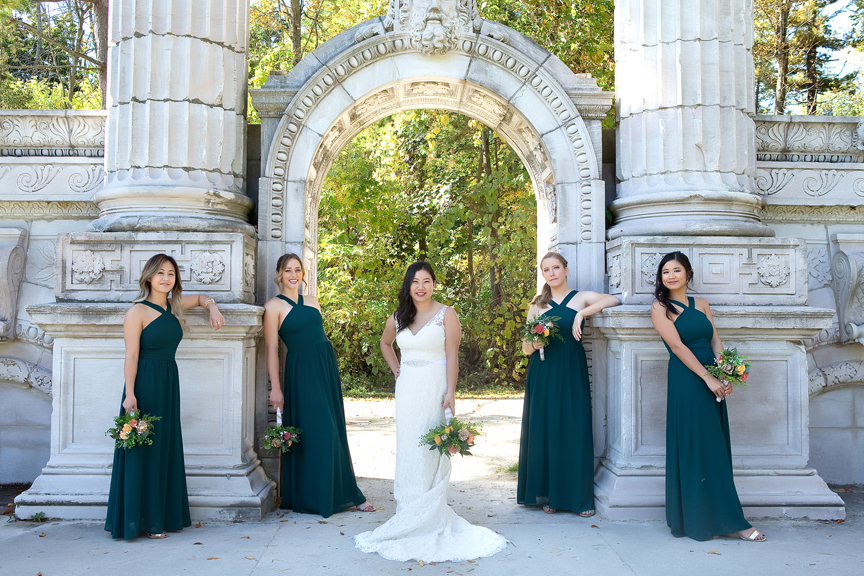 Bridesmaids at Guildwood Inn Gardens