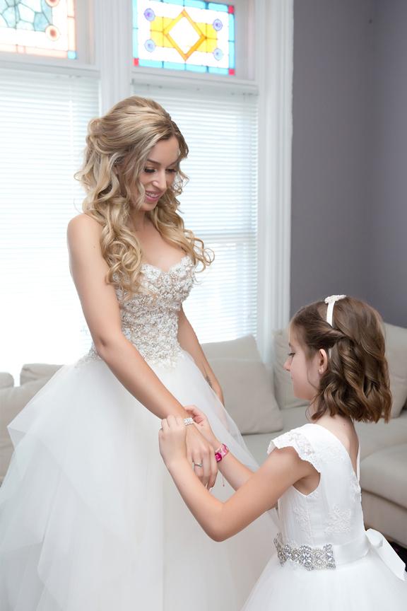bride prep flower girl