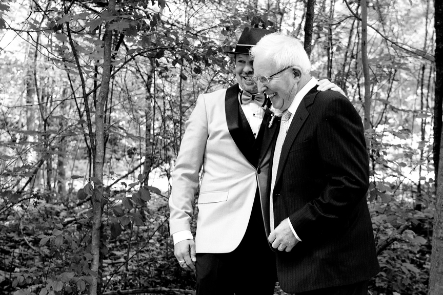 groom and dad wedding ceremony at Kortright Centre for Conservation