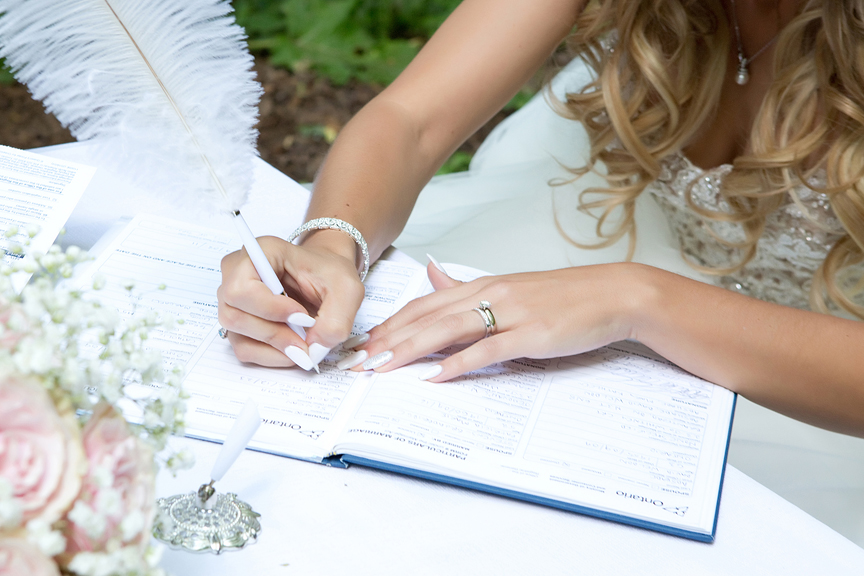 wedding documents being signed at Kortright Centre for Conservation