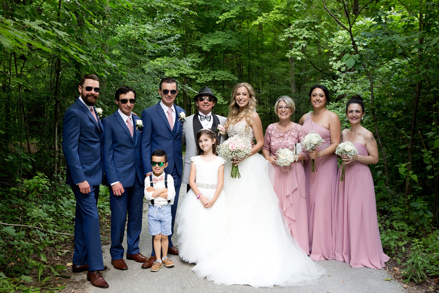 bridal party at Kortright Centre for Conservation
