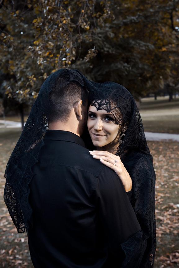 halloween themed engagement shoot