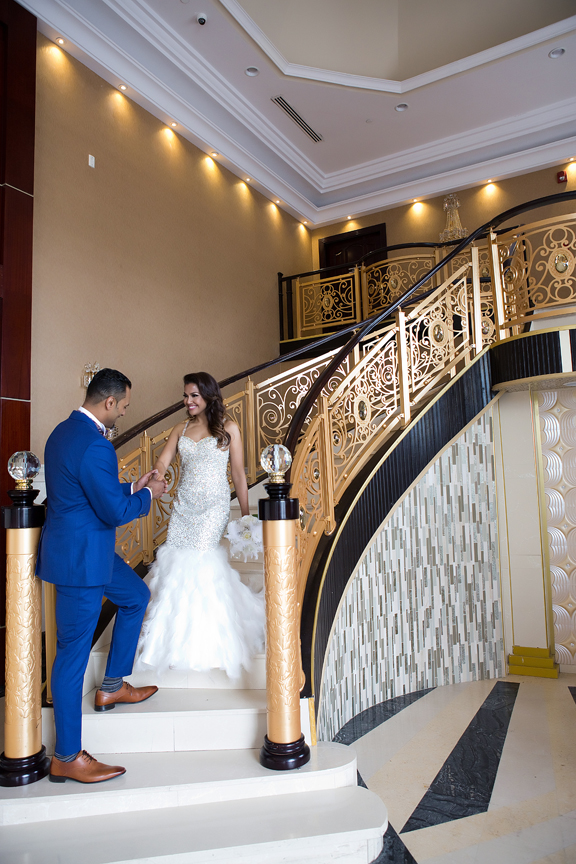 wedding couple stairs at Markham Convention Centre