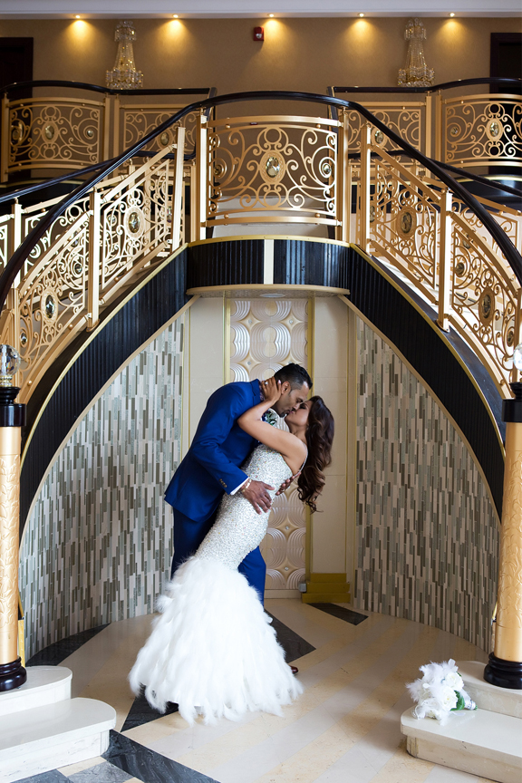 wedding couple kiss at Markham Convention Centre