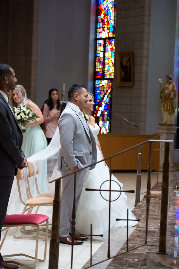 wedding couple at St Roch's Church