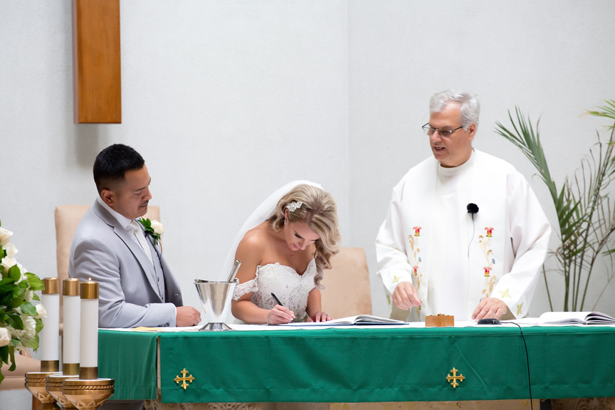 wedding signing at St Roch's Church