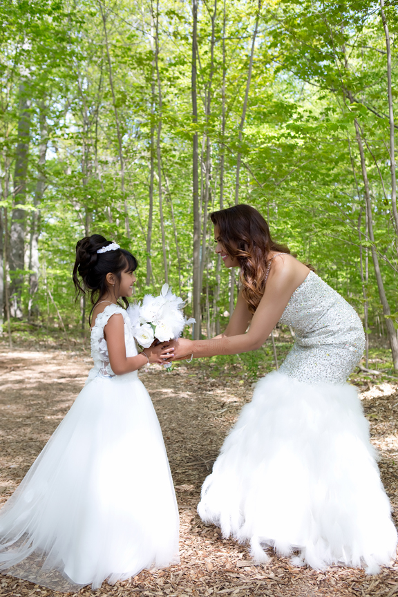 bride and flower girl at Milken Park