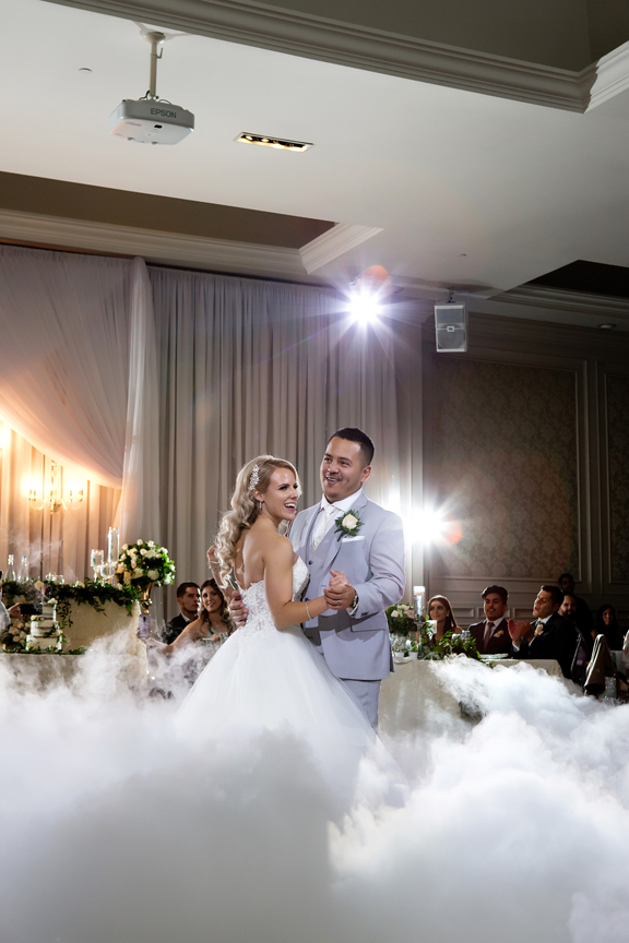 first dance and dry ice at Hazelton Manor