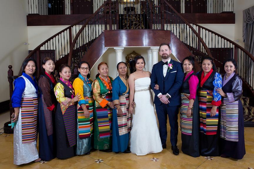 Family portrait at buddhist wedding