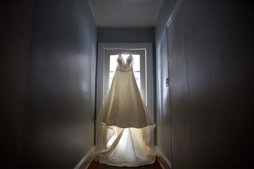 bride prep wedding dress