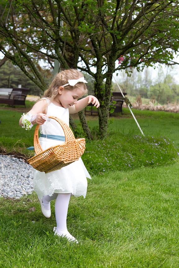 flower girl backyard wedding ceremony
