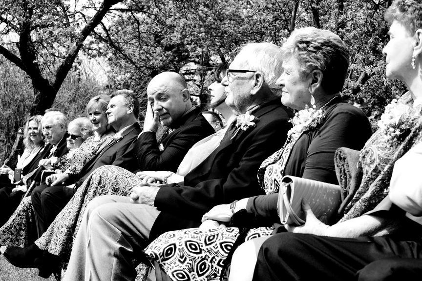 guests at backyard wedding ceremony