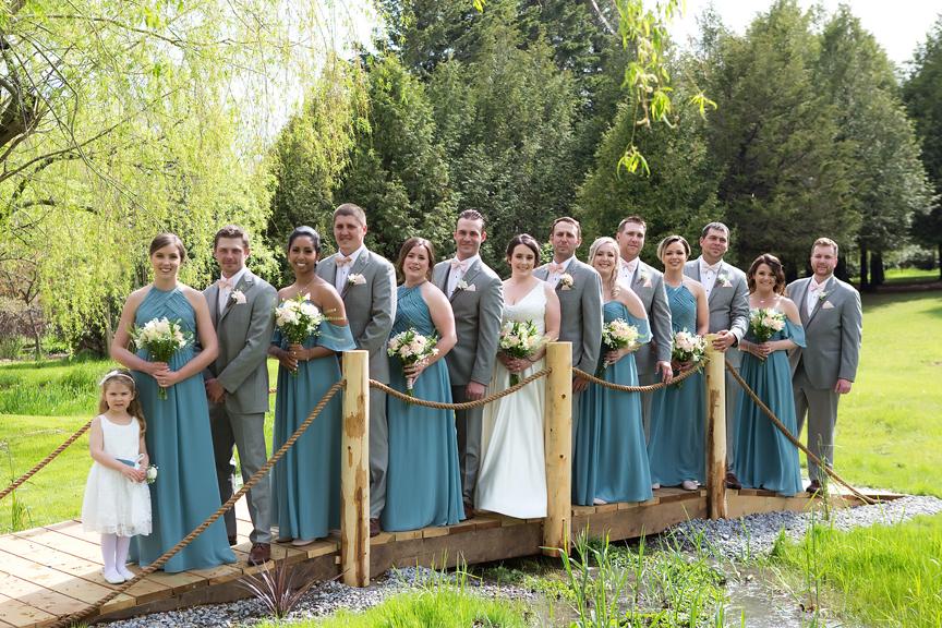 bridal party backyard wedding