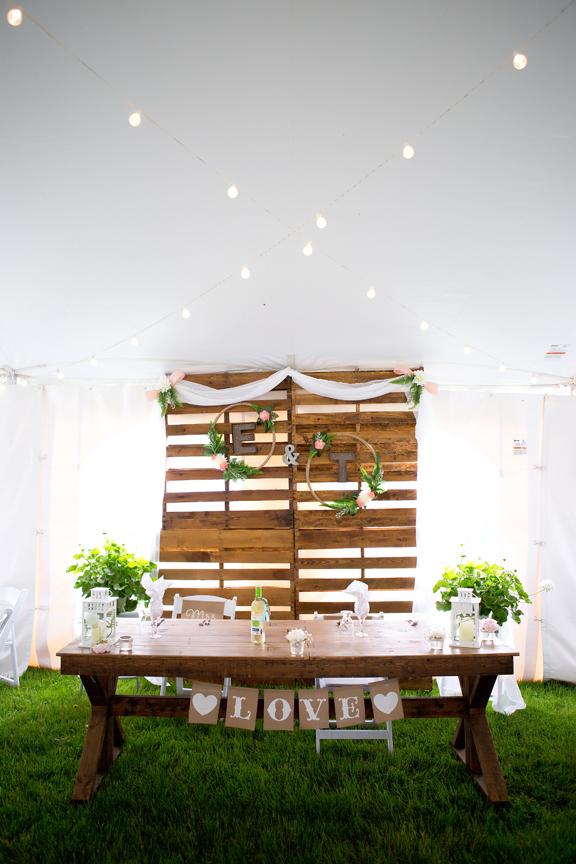 Backyard Wedding wedding reception sweetheart table