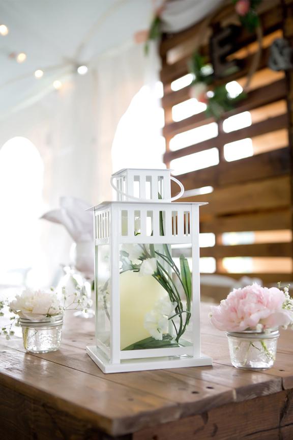 Backyard Wedding wedding reception lantern decor